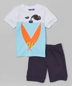 Another great find on #zulily! White Big Fish Tee & French Terry Bermuda Shorts - Toddler & Boys #zulilyfinds