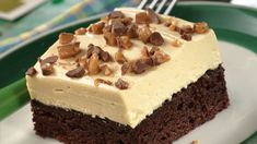 Take brownies one step further with a creamy, toffee topping.