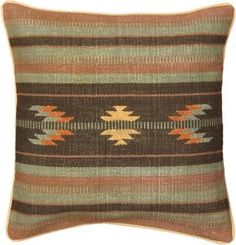 Dark Camel And Light Black Wool Handmade Ottoman Kilim Cushion. This would fit right in to my home.