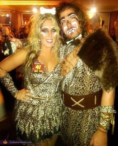 Cave Man & Cave Woman - Halloween Costume Contest via @costume_works