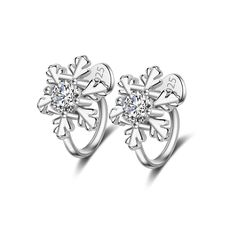 Crazy Feng Silver-color Crystal Snow Flower Clip Earrings For Women's Gift No Ear Hole Unique Design Earrings Free Shipping //Price: $4.99 & FREE Shipping //     #hashtag2