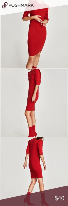 GORGEOUS NWT ZARA Red Ruffles Sleeve Dress New with tags. Great for Valentine's Day or Xmas! Zara Dresses Midi