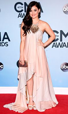 Lucy Hale in a Grecian-inspired gown from Julien Macdonald's spring 2013 collection.