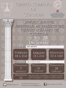 En este mes de Diciembre, en conmemoración del primer año de apertura al público del Templo Romano de Córdoba, el recinto reabrirá sus puertas.