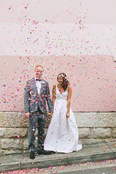 raining rainbow confetti! Pic by Lara Hotz
