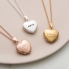 The stunning Personalised Mini Heart Locket Necklace is a beautiful new piece. A dainty sterling silver heart locket is suspended from an extra fine sterling silver trace chain, optional rose or yellow gold plating is available for an truly special touch. Mrs Necklace, Good Luck Necklace, Heart Locket Necklace, Diamond Solitaire Necklace, Diamond Pendant Necklace, Lariat Necklace, Gold Necklace, Gold Locket, Silver Necklaces