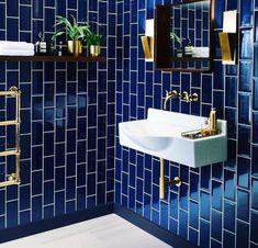 Ceramic Tile Floor Bathroom, Small Bathroom Tiles, Bathroom Tile Designs, Modern Bathroom Design, Bathroom Interior Design, Bathroom Ideas, Blue Bathroom Decor, Bathroom Colors, Blue Small Bathrooms