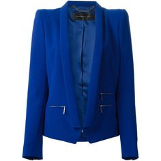 Barbara Bui structured shoulder blazer ($1,215) ❤ liked on Polyvore featuring outerwear, jackets, blazers, coats, giacche, blue, structured jacket, barbara bui, blue jackets and structured blazer