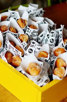 Donut Holes in Custom Paper Cones at Theo's Say Cheese 1st birthday by Good on Paper Design | 100 Layer Cakelet