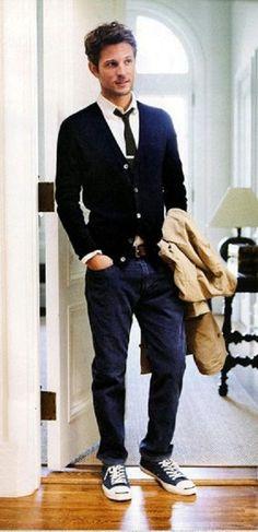 navy blue cardigan, light colored shirt & dark tie, dark blue chinos, camel trench coat ~ men's fashion