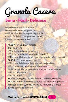 Deja de consumir azúcares y conservadores en tus granolas tradicionales. Hacer tu propia granola caser es más fácil de lo que piensas. Haz el intento con esta receta saludable, ¡te va a encantar!