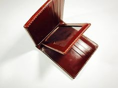 Japan's Cordovan with J&E Bridle Leather Wallet Leather Products, Handmade Leather, Leather Wallet, Zip Around Wallet, Crafts, Manualidades, Handmade Crafts, Craft, Arts And Crafts