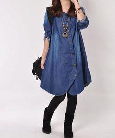 Denim dress Denim shirt maxi dress long by originalstyleshop Denim Fashion, Hijab Fashion, Fashion Dresses, Womens Fashion, Petite Fashion, Street Fashion, Fall Fashion, Denim Tunic, Denim Outfit