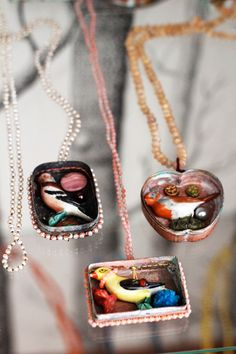 Locket or shadowbox necklaces by le Superflu: Absolutely amazing and one-of-a-kind #jewelry #vintage #jewellery