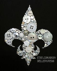 6 x 6 botón kappa kappa gamma arte Swarovski Crystal Fleur De Lis