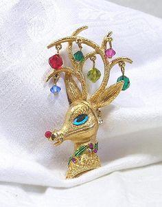 1960's MYLU Rudolf Reindeer Brooch Christmas Coro by blisstiques, $26.50