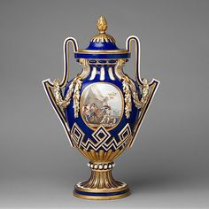 Soft-Paste  Porcelain Vase With Cover (Vase a batons rompus) By The Sevres Manufactory And Attributed To Jean-Baptiste-Etienne  - French   c.1764
