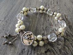 Swarovski crystal pearl knotted bracelet  Icy Belle  by slashKnots $92