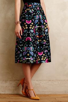 $228 - ANTHROPOLOGIE Size 4  Garden Glow Midi Skirt #anthropologie