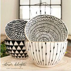 Set of 4 Glitzy Bowls– Interior Delights Ceramic Bowls, Ceramic Pottery, Pottery Art, Pottery Painting Designs, Pottery Designs, Ceramic Painting, Ceramic Art, Keramik Design, Bowl Of Cereal