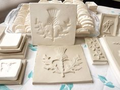 Clay Stamp Thistle Leaf Blossom Pottery Press Mold Relief Mold or Sprig Mold Bisque Clay Herb Sprig for Ceramic Decoration and Texture