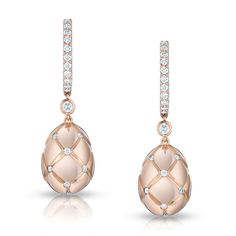 Fabergé Treillage rosé gold earrings white round diamonds.