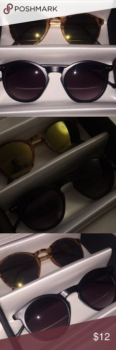 Round cat style sunglasses Tortoise mat frame gold green lens  black mat frame black lens Minor scratches  . . . 🚫NO TRADE🚫 SMOKE FREE HOME🚭  ❓❓FELL FREE TO ASK ANY QUESTIONS BEFORE BUYING❓❓   📦📦Purchases before 12am PST Sunday-Thursday will be shipped out next day 🤗 Accessories Glasses