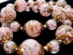 Murano Venetian Aventurine Sommerso Pink Art Foil Glass Bead Necklace Vintage | eBay