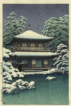 Ginkakuji Temple in Snow, by Kawase Hasui, 1951