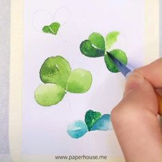 Watercolor Clover Art👉www.me💝Save OFF with code Stationery How about paint this Clover theme with our beginner Watercolor Set?👉Shop the same pen at www. Watercolor Painting Techniques, Watercolour Tutorials, Watercolour Painting, Painting & Drawing, Watercolor Plants, Abstract Watercolor, Watercolor And Ink, Step By Step Watercolor, Plant Art