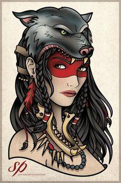 Wolf Head Gypsy Woman Tattoo Sam Phillips Artist Illustrator