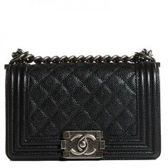 This is an authentic CHANEL Caviar Quilted Small Boy Flap in Black. This popular shoulder bag is crafted of pebbled leather with an antiqued ruthenium shoulder chain, a leather shoulder pad, a diamond-quilted flap with a linear-quilted border, and a ruthenium CC boy push lock.