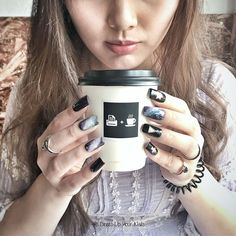 The sweet aroma of coffee takes over my senses and flies me to the galaxy. Nail: Galaxy style Meal: Take-away Cup Latte  #DressUpYourNails #Manicure #Cafe #Nail #Nailart #notd #OnTheTableProject #FlatLay #Lifestyle #KotaKinabalu #Maniquremy