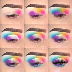 makeup goals rainbow eyeshadow eye makeup look Eye Makeup Steps, Cat Eye Makeup, Makeup Eye Looks, Eyeshadow Makeup, Eyeliner, Eyeshadows, Rainbow Eye Makeup, Colorful Eye Makeup, Make Up Designs