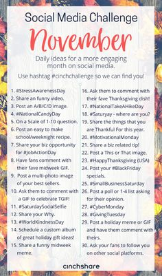 our FREE November Social Media Challenge so you can plan ahead, be consistent and have great engagement all month long! Be sure to share with your teams and use the hashtag so we can find you! Social Media Challenges, Social Media Calendar, Social Media Content, Social Media Tips, Social Marketing, Facebook Marketing, Marketing Digital, Marketing Ideas, Marketing Approach