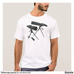 Shop Telescope party T-Shirt created by vandalcloak. Closet Staples, Elephant Gifts, Telescope, Shop Now, Fitness Models, Technology, Casual, Party, Sleeves