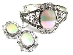 Whiting and Davis Mother of Pearl Bangle w Earrings 1950s Vintage Jewelry