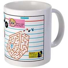 Our characters are up to many adventures.help CAPPY find MIGGY MUTT, but beware FLOCO, the Black Rabbit on this mug. Mug Designs, Rabbit, Cartoons, Handle, Characters, Ceramics, Mugs, Tableware, Easy