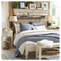 Love the shelf above the bed!