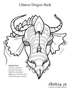 Chinese New Year Printable Craft: Dragon Animal Masks Printable Dragon Mask Coloring Page – Craft Jr.