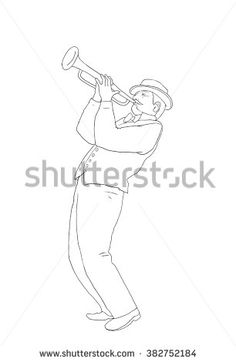 Trumpeter, Musician plays the trumpet jazz. Trumpeter on white background, sketch. Digital illustration and Hand drawing. For Art, web, print, wallpaper, greeting card, fashion, poster graphic design. - stock photo