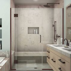 Best Dimensions For Bath With Doorless Shower 3X5 Minimum But 400 x 300