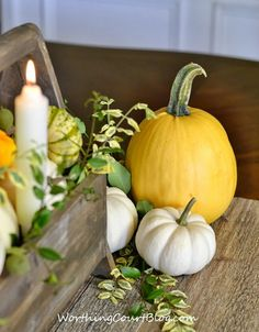 Wooden tool box filled with yellow and white pumpkins and fresh greenery  // Worthing Court Blog