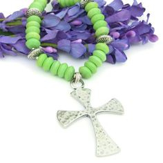 Large #Hammered #Pewter #Cross Necklace with Spring #Green #Magnesite #Handmade by @ShadowDogDesigns #ShadowDogDesigns - #Jewelry on #ArtFire, $65.00 - SOLD