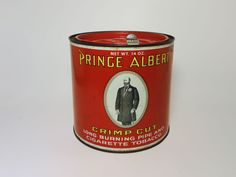 Claudia's Bargains offers for sale - Vintage Prince Albert crimp cut tall round tobacco tin canister with pry key / slider. Solid with great graphics. No fading