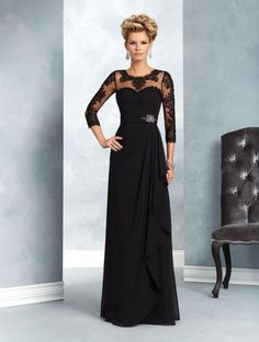 Long Black Chiffon Lace 3 4 Length Sleeves Mother of The Bride Dresses 907034 Mother Of The Bride Dresses Long, Mother Of Bride Outfits, Mothers Dresses, Bride Groom Dress, Bride Gowns, Mob Dresses, Bridesmaid Dresses, Wedding Dresses, Party Dresses