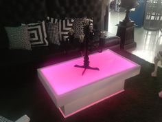 LED Battery Operated Light Up Coffee Tables for Weddings, White Events, Receptions, Birthday Parties.