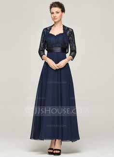 A-Line/Princess Sweetheart Ankle-Length Zipper Up Regular Straps Sleeveless Yes 2015 Dark Navy Spring Summer Fall General Plus Chiffon Lace Mother of the Bride Dress