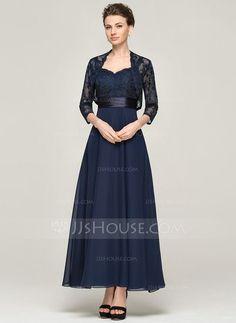 Corte A/Princesa Escote corazón Hasta el tobillo Chifón Encaje Vestido de madrina (008062564)