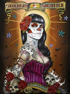 """Strength and sacrifice"" Art by Gustavo Rimada . Sugar skull art"